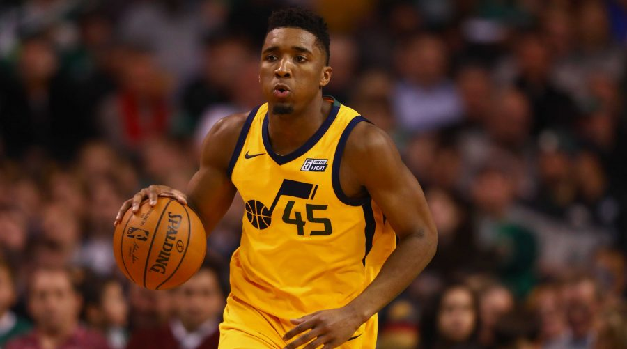 BOSTON, MA - DECEMBER 15:  Donovan Mitchell #45 of the Utah Jazz dribbles up the court during the game against the Boston Celtics at TD Garden on December 15, 2017 in Boston, Massachusetts. NOTE TO USER: User expressly acknowledges and agrees that, by downloading and or using this photograph, User is consenting to the terms and conditions of the Getty Images License Agreement.  (Photo by Omar Rawlings/Getty Images)