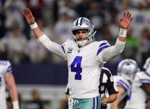 ARLINGTON, TEXAS - JANUARY 05: Dak Prescott #4 of the Dallas Cowboys gestures in the fourth quarter in a game against the Seattle Seahawks during the Wild Card Round at AT&T Stadium on January 05, 2019 in Arlington, Texas. (Photo by Tom Pennington/Getty Images)